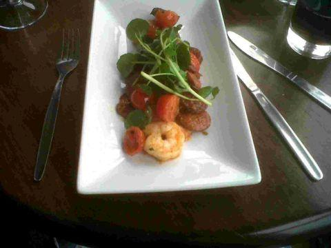 The king prawn with chorizo, tomato and chilli starter