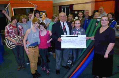 CHEQUE THIS OUT: Portland Rocks youngsters celebrate a donation from Synergy Housing that has secured the project's near future