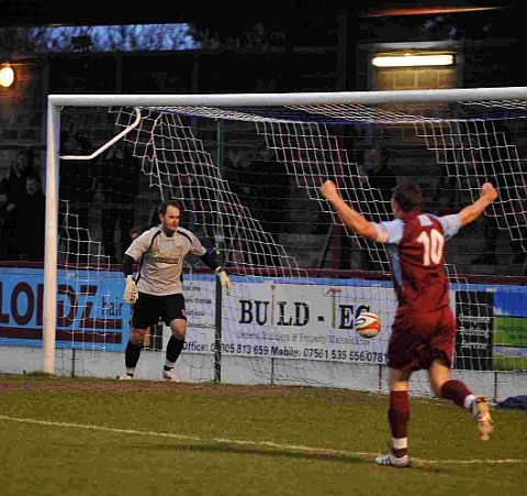 EARLY BREAKTHROUGH: Warren Byerley celebrates as Ollie Tribe (out of picture) heads the Terras into the lead