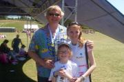 Martin Clunes with Katie & Amelia at last year's Race for Life