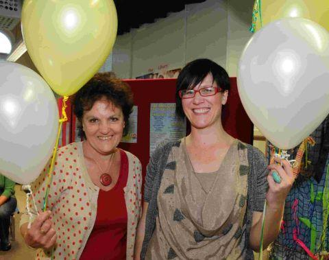UP, UP AND AWAY: Jane Hurdiss and Sarah Whiteside launch the 2012 Grove Festival at Grove Infants School
