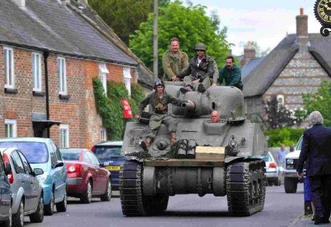 HERE WE GO: A Sherman tank in Maiden Newton during the 2010 event