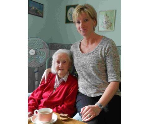 Dorset Echo: Phyllis Brampton  with care home manager Becky Chapman