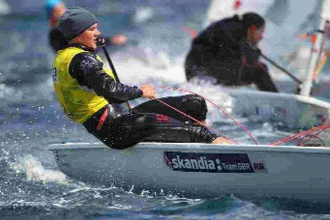 OUT IN FRONT: Alison Young from Portland in the Laser Radial class