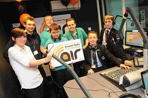 Westfield students with pupils from Wey valley and All Saints in the studio – Lilly McMullan, Elliot Smart, Sam Kelly, Rhys Cummings, Joe Critchel, Scott Williams and Rhys Gunter