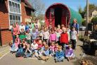 Children at Cheselbourne Village School with the Romany caravan