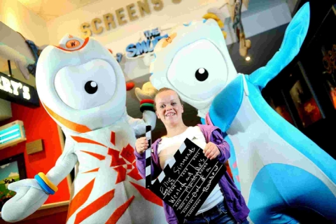 Paralympic swimmer Ellie Simmonds with Wenlock and Mandeville and, inset, Portland Revive's Yvonne Bevan