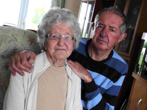 BADLY BRUISED: John May and his mother Joan, who fell over on the bus