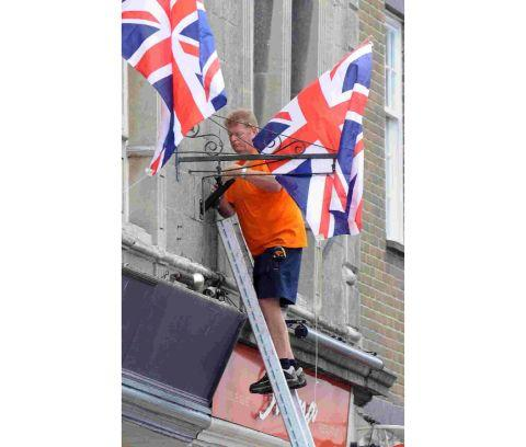 Jubilee flags go up in Dorchester