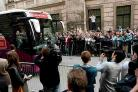 IN TOWN: The England team arrives in Krakow