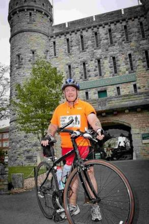 DROPPING IN: Charity cyclist Billy Hughes stops at the Keep