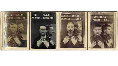 ROGUES GALLERY: Old mugshots of Dorset prisoners, including George Pill, right, who stole a neighbour's donkey
