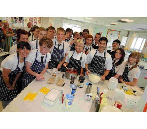 Budmouth students with Masterchef contestant Claire Hutchings, centre