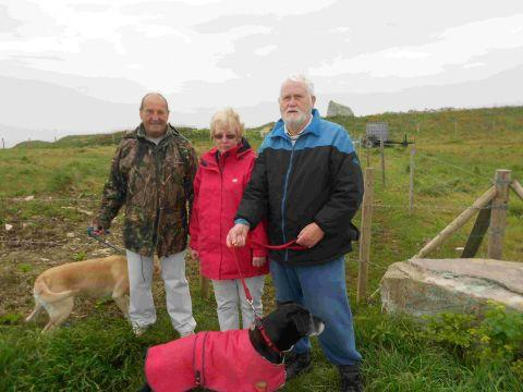 PATH WOE: Dog walkers Mossie Carmody, Jennifer Reynolds and Peter Jeffrey are unhappy about their route to the coast path being fenced off