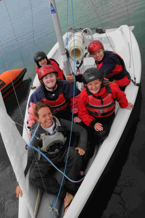 FUN ON THE WATER: Kerry Knight (front) from SailLaser with Wyvern School pupils Geoffrey Mott, Kerry Phillips, Kira Friend and Joseph Holloway
