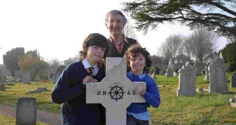 RESEARCHERS: Author Brian Bates with his grandsons Jacob and George