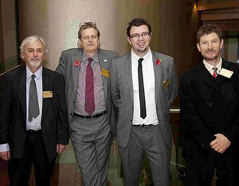 INSPIRATIONAL: Richard Scott, of the Thomas Hardye School, with Peter Farrington, Gary Spracklen, and