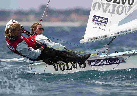 Hannah and partner Saskia Clark racing the 470 dinghy at the Hyeres Olympic Week, France