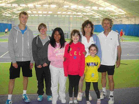 AT WEY VALLEY: Organiser Rhose Lawes, third from left, with Ryan Bissett, Annie Redding, and Caroline and Alan Cash with daughters Chloe and Natalia at the Wey Valley Tennis Centre