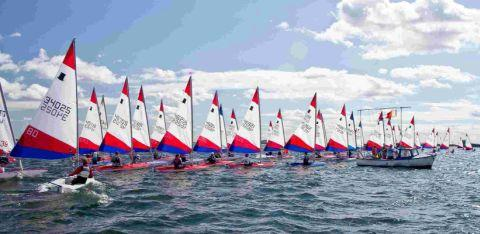Dorset Echo: ON YOUR MARKS: The Topper Fleet start line at the NSSA National Youth Regatta