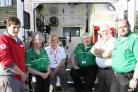 GETTING SET: British Red Cross and St John Ambulance volunteers. From left to right, Alex Wilson, Mary Buck, Tina Davison, Dave Carr, Dave Witherington and George Dubois
