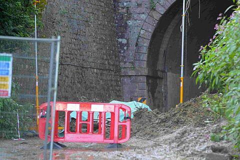 TUNNEL TRAGEDY: The scene at Beaminster Tunnel after the landslip