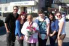 Dawn Davies, centre, with the young people from Steps