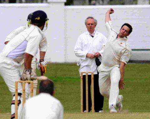 TWO WICKETS: St George's bowler Rich Cole