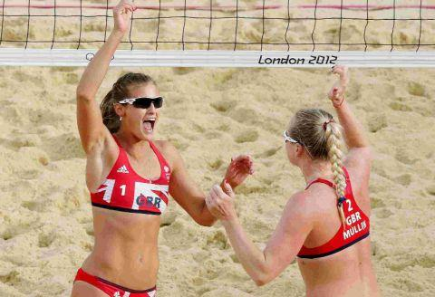 HIGH POINT: Zara Dampney, left, and playing partner Shauna Mullin celebrate winning a point at Horse Guards Parade in London