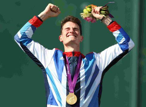 GOLDEN MOMENT: Peter Wilson receives his gold after winning the double-trap final at London 2012