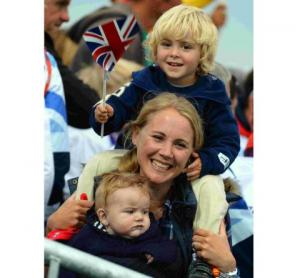 Sarah Dempsey with sons Thomas and Oscar watch the proceedings