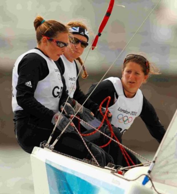 Team GB's Match racing team of Kate and Lucy Macgregor and Annie Lush in action against the Russia team