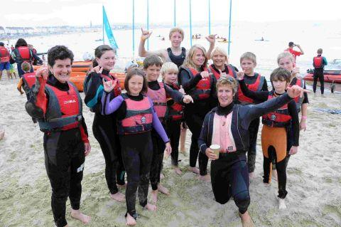 Dorset Echo: POPULAR: People taking part in windsurfing tasters at Weymouth Beach Sports Arena