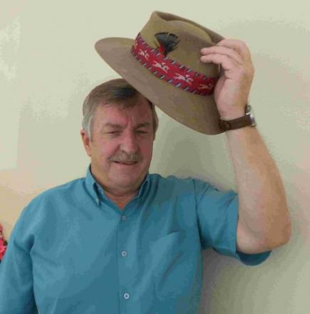 Roger Snook prepares for the 2012 Bridport Hat Festival with his 40-year-