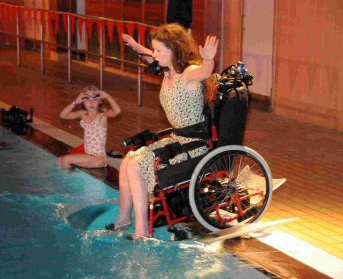 WATER SHOW: Sue Austin doing a live underwater wheelchair performance