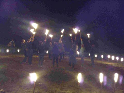 LIGHTING UP TIME: Fire torch dancing at the Spirit of Bridport Festival of Culture Beach Party at West Bay
