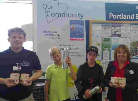 HOT CHOCOLATE: Zach Williams, Engage outreach project co-ordinator with Debbie Lindoe, Community Champion for Tesco Easton