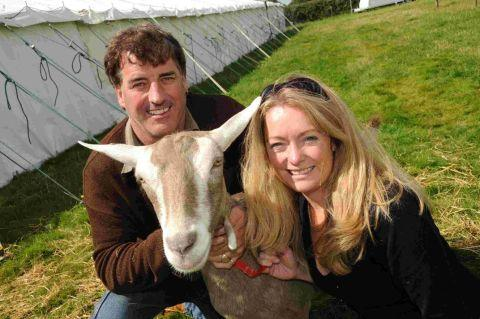 ALL SET: Mervin Marlow with his goat Questant Cherise and show secretary Sam Mackenzie-Green