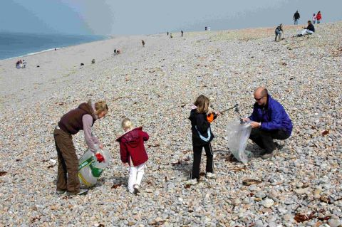 Volunteers of all ages join in the Great Dorset Beach Clean