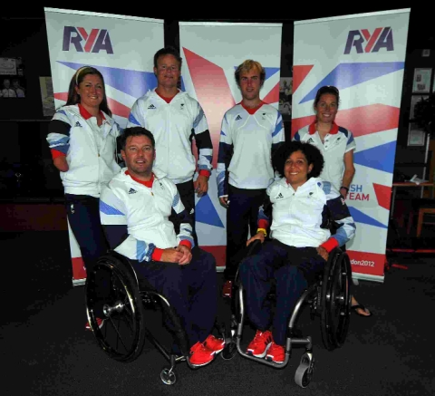 Great Britain's Paralympic sailors, from left: Hannah Stodel, John Robertson, Steve Thomas, Niki Birrell, Alexandra Rickham and Helena Lucas
