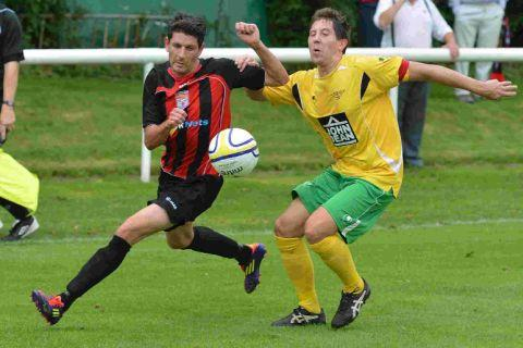 GROIN INJURY: Striker Ryan Dovell, left, will miss the trip to Winterbourne