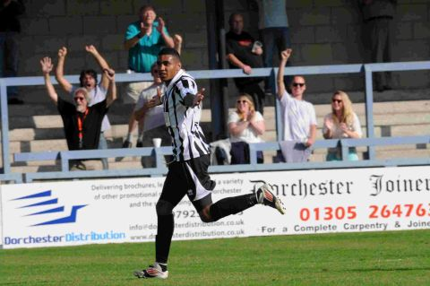 MATCH-WINNER: Jamie Reid celebrates his winning goal against Chelmsford City