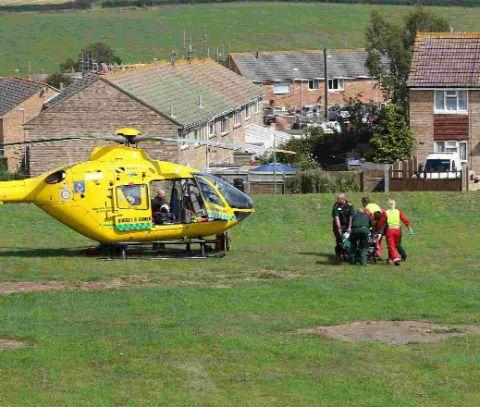 The man is transferred to the air ambulance in Littlemoor