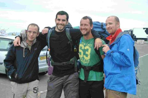ON THE MARCH: Steve Roberts, Simon Christophers, Andy Parsons and Chris Tarrant before taking on their Great Dorset Coastal Walk