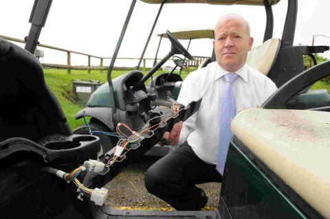 VANDALS ATTACK General manager Matthew Staveley with the golf buggies which have been attacked