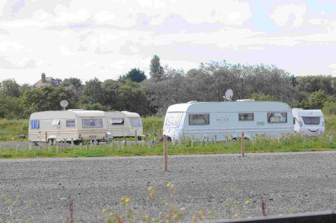 SETTING UP CAMP: Travellers at the park and ride in Mount Pleasant
