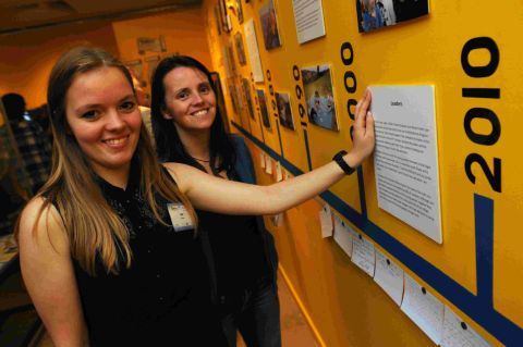 THE YOUNG ONES: Volunteer Issy Eastwood, left, with DYA Project Worker Emma Brown at the exhibition