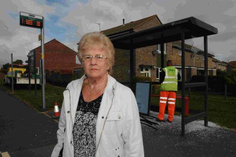 MINDLESS DAMAGE: Diana Jeffrey with the wrecked bus shelter at Littlemoor