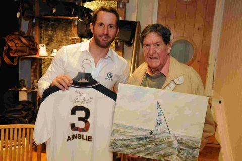 THANKS: Olympic gold medalist Ben Ainslie with artist John Lee