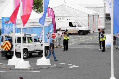 THE SHOW IS OVER: Police at the entrance to the Bayside Festival after it was closed